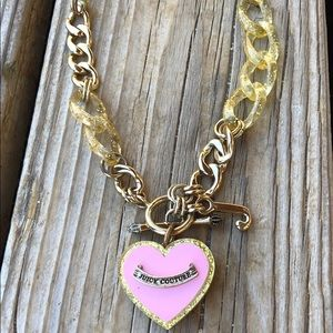 Juicy Couture RARE Pink Enamel Lucite Necklace!